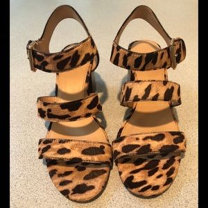 J. Crew Shoes - J Crew Three-Strap Sandals in Leopard 6.5 #J0732